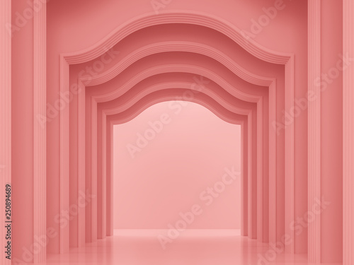 Fototapeta Coral pink classical interior space 3d render ,There are arch shape wall pattern with coral pink.