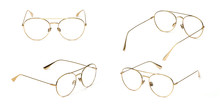 Set Glasses Gold Metal Material Business Style Transparent Isolated On White Background. Collection Fashion Office Eye Glasses