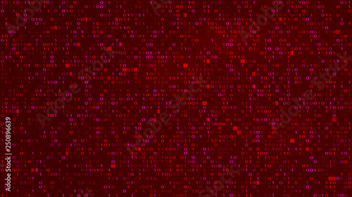 Fotografía  Abstract Tech Binary Code Red BG. Hacking, Malware