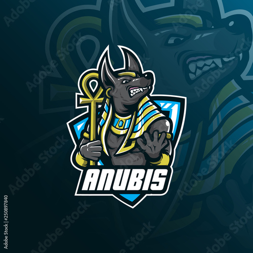 anubis vector mascot logo design with modern illustration concept style for badge, emblem and tshirt printing Canvas Print