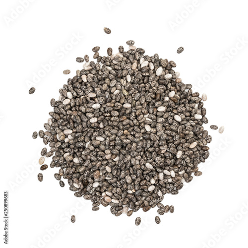 Small pile of chia seeds seen directly from above and isolated on white background Wall mural