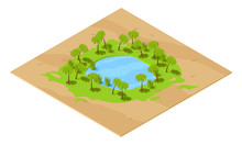 Isometric Oasis Includes Pond ...