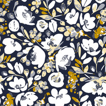 Vector Seamless Pattern, Absract White Flowers And Gray, Yellow Foliage. Illustration With Floral Composition On Dark Indigo Background. Use In Textiles, Interior, Wrapping Paper And Other Design.
