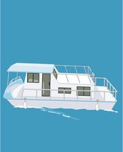 House Boat Vector Illustration