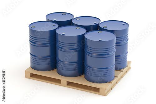 Steel barrels on pallet Canvas Print