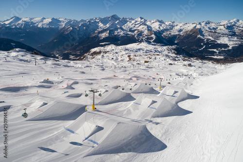 Vászonkép Ursus Snowpark Aerial Drone Madonna di Campiglio Italy