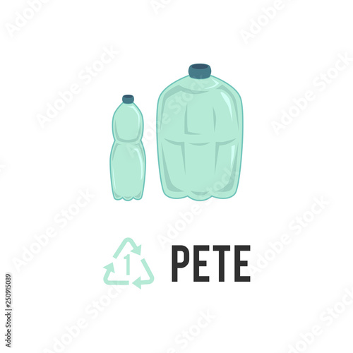Plastic recycling icon, symbol and sign PETE, PET. Canvas Print