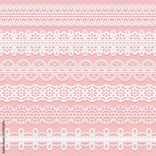 Set lace patterned ribbons Fototapete