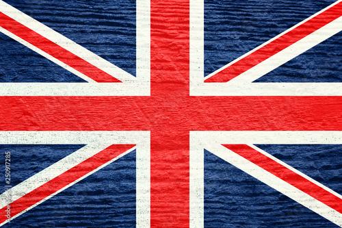 Fotografía  British flag with a wooden texture.