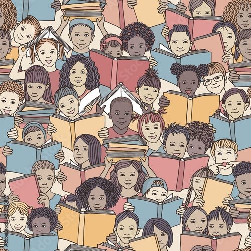 Seamless pattern of children reading colorful books,