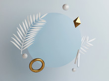 Abstract Podium Composition, Blue Background Copy Space, 3d Render, 3d Illustration