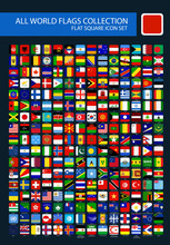 All World Flags Rounded Square Simple Vector Isolated On Black