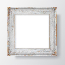 Square Blank Wooden Flaky Frame On White Wall. Vector Template