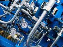 Pressure Sensors On The Pipes. Pressure Gauges. Diagnostics Of Pressure In The Pipeline At The Enterprise. Industrial Technology. Production Control.