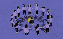 Bullying. Sad Child On School. Concept Illustration. Scene Of Bullying A Child.