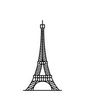 Eiffel Tower Black On White Background Illustration Vector
