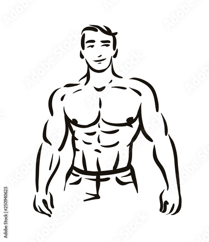 Vector Illustration Concept Of Man Bodybuilder Figure Silhouette