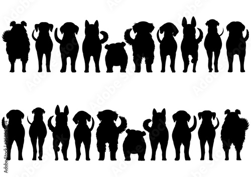 Fotografia dogs breed silhouette border set