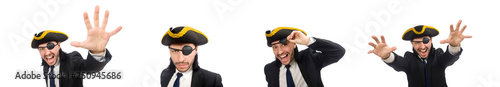 Photo Pirate businessman shouting isolated on white