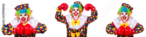 Photographie  Funny male clown with boxing gloves