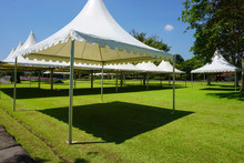 White Tent With Green Grass On The Garden Park With Shed - Photo Indonesia Bogor