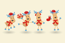 Happy New Year And Merry Christmas Greeting Card. Set Of Six Reindeers In Different Costumes And Poses, Various Accessories. Cartoon And Flat Style. Vector