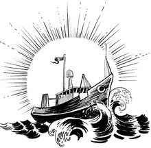 Fishing Trawler In The Sea. Ink Black And White Drawing