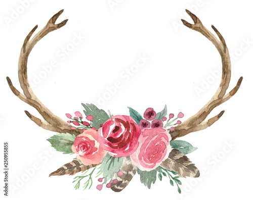 Canvas Print Rustic Watercolor Floral Antler Bouquet