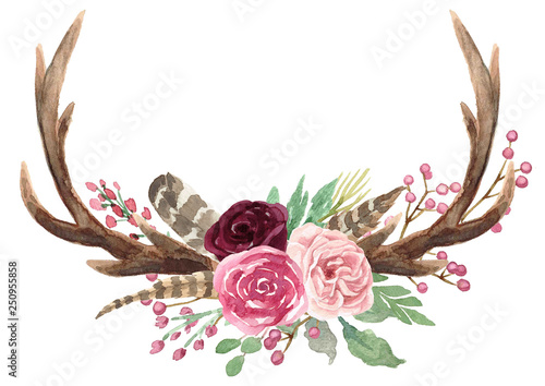 Rustic Watercolor Floral Antler Bouquet Wallpaper Mural
