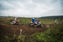 Group Of Motocross Riders On D...