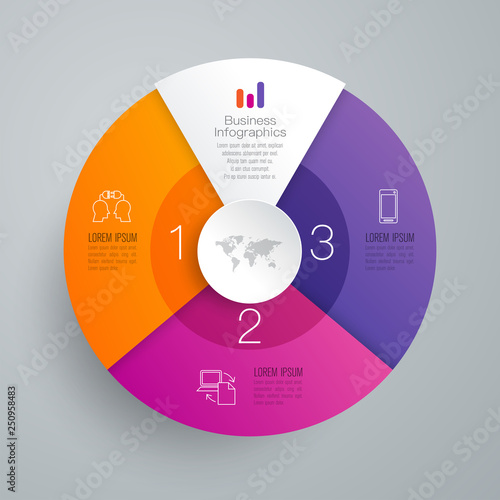Infographics design vector and business icons with 3 options. Canvas Print