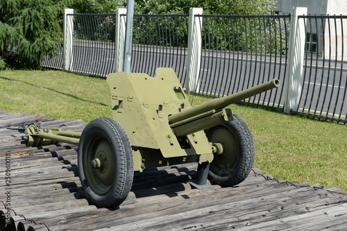 Valokuva  45-mm battalion anti-tank gun 53-K of 1937 type in the museum of military equipm