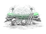 Fototapeta Sport - Cricket stadium view with illustration of cricket helmet, ball and stumps in hand drawn style for Cricket tournament poster or banner design.