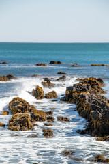 Fototapeta Morze water crashing over the rocks in Newport Rhode Island