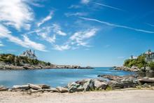 Blue Sky Over An Ocean Inlet In Newport Rhode Island