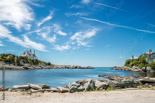 blue sky over an ocean inlet in Newport Rhode Island Wallpaper Mural