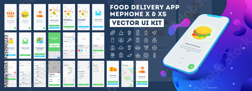 Fototapeta Food delivery mobile app ui kit including sign up, food menu, booking and home service type review screens. obraz