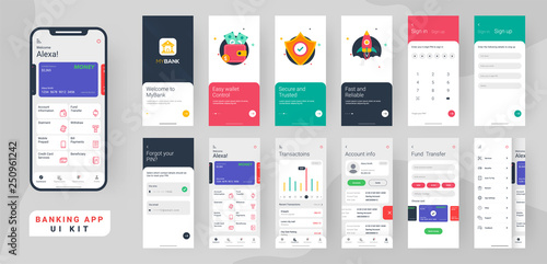 Obraz Banking app ui kit for responsive mobile app or website with different layout including login, create account, user profile, transaction and notification screens. - fototapety do salonu