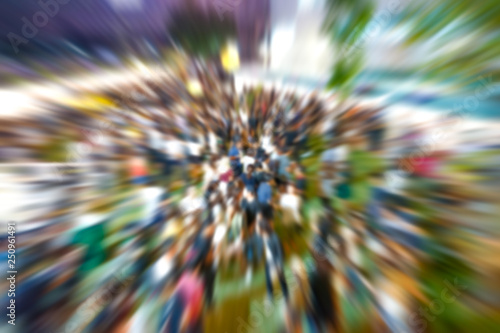 Fotografie, Obraz  Motion radius blur about people joined the outdoor concert at the night