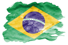 Brazil Flag  Is Depicted In Li...