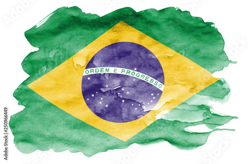 Brazil flag  is depicted in liquid watercolor style isolated on white background Fotobehang