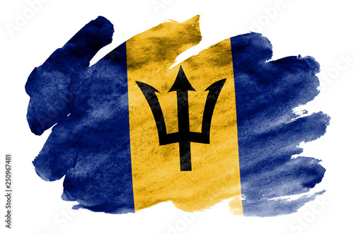 Barbados flag  is depicted in liquid watercolor style isolated on white backgrou Canvas Print
