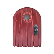 Medieval Cartoon Wooden Door With A Tiny Round Window. 3D Illustration Closeup Comic Entrance Door To The House Fairy. Game Design. Funny Little Round Red Door. 3D Rendering On White Background.