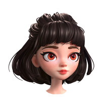 3d Cartoon Character Of A Brunette Girl With Big Brown Eyes. Beautiful Romantic Girl With Retro Hairstyle. Young Woman With Short Brown Hair. Half Ponytail Hairstyle. 3D Rendering On White Background.