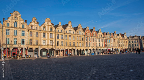 Cuadros en Lienzo Facades of typical Flemish medieval houses in a square of Arras in France