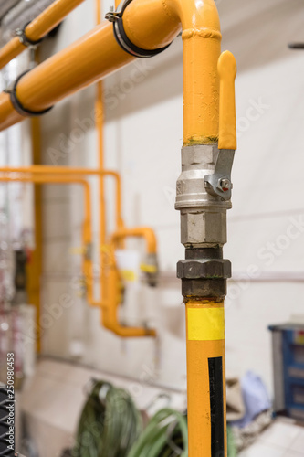 Photo  Lever valve on gas pipe.