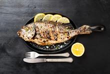 Tasty Grilled Fish Dorado With...