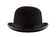 Black Bowler Hat Isolated On W...