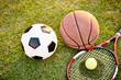 football basketball and tennis ball and racket on grass