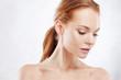 Leinwandbild Motiv Redhead girl beauty portrait, skin care concept.
